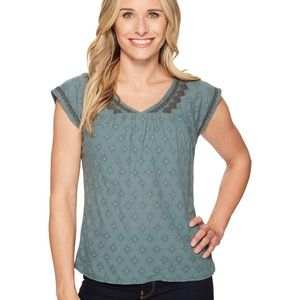 Prana Blossom Top Green with Gray Embroidery XL